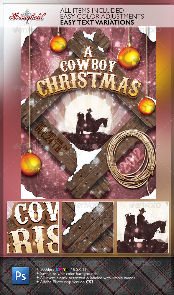 Vintage Cowboy Christmas Flyer Template By Getstronghold Graphicriver