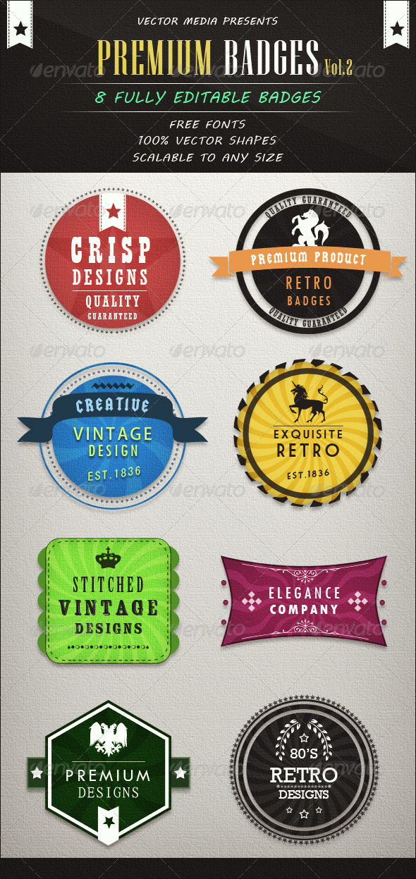 Premium Badges - Vol.2 - Badges & Stickers Web Elements