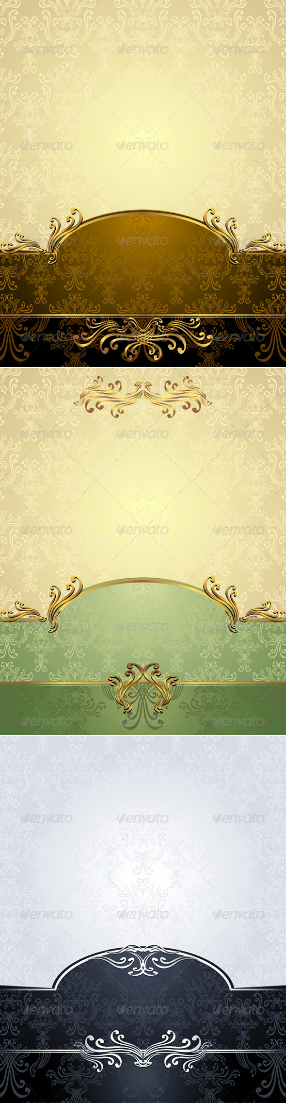 Set Seamless Pattern in Victorian style  - Patterns Decorative