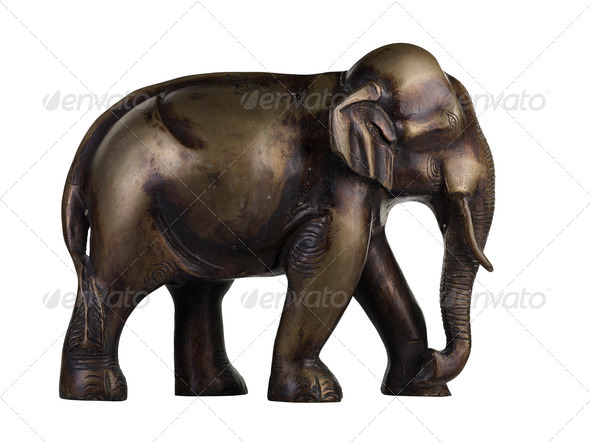 isolated Buddhist Statuette of elephant - Stock Photo - Images