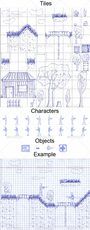 2D Tiles Ballpoint Pen - Tilesets Game Assets
