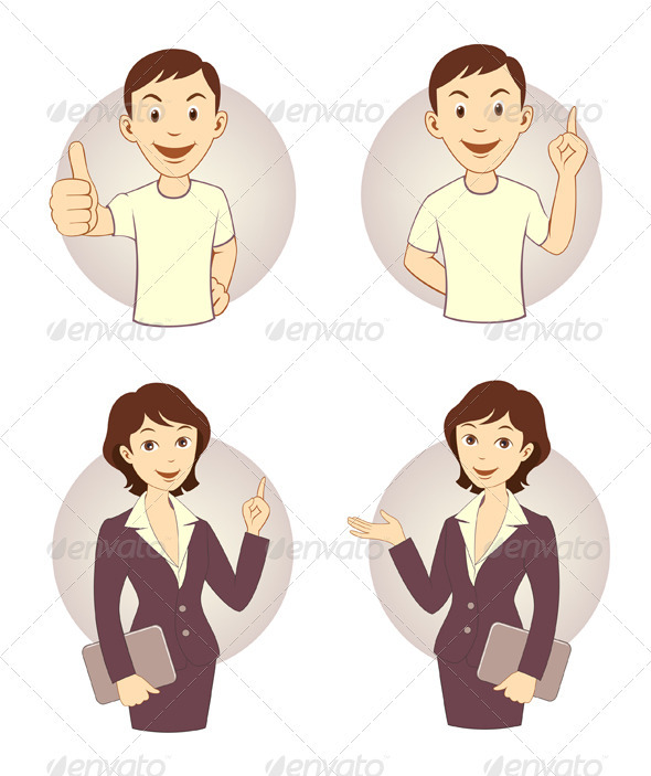 Gesturing Business Person Set - People Characters