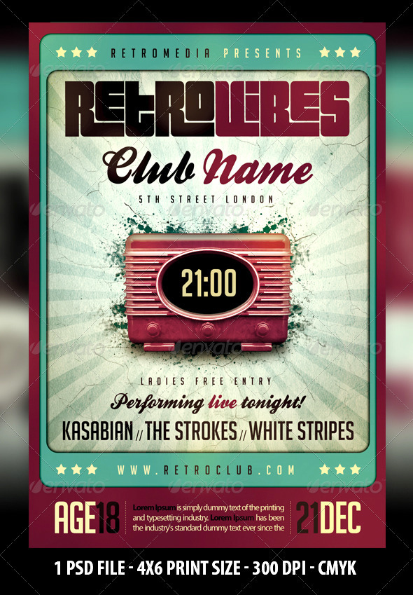 Retro Vibes Flyer By Fadeink | Graphicriver