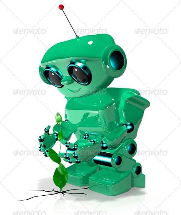 Green Robot - Technology 3D Renders