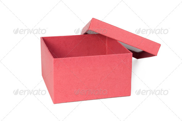 Open red box. - Stock Photo - Images