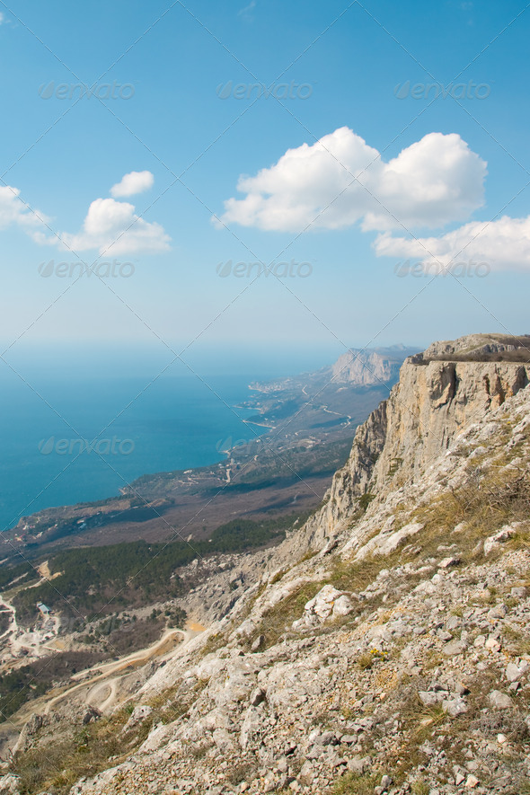 High mountains above the sea. - Stock Photo - Images
