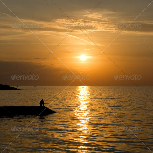 The natural landscape, sunset over the sea - Stock Photo - Images
