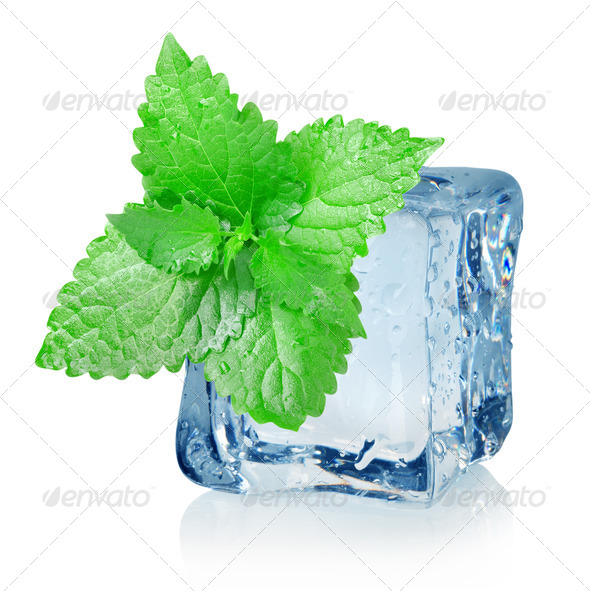 Ice cube and mint - Stock Photo - Images