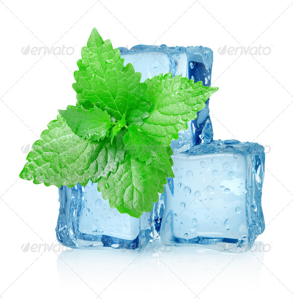 Three ice cubes and mint - Stock Photo - Images