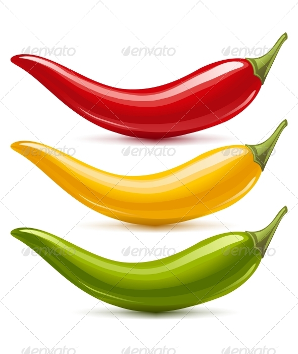 Hot Chilli Pepper Vector Set - Food Objects