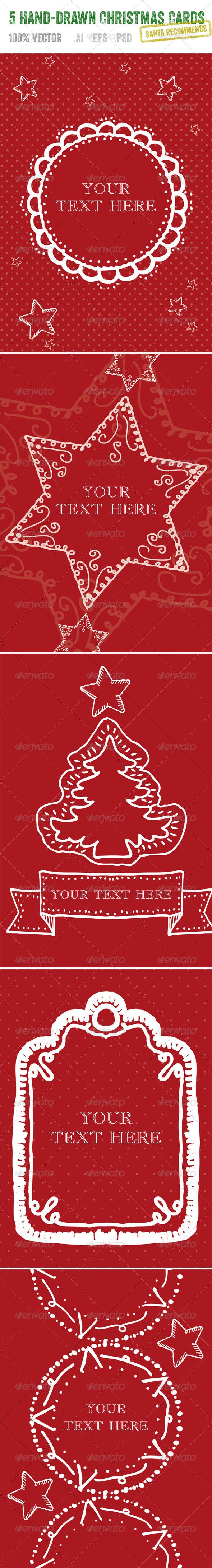 5 Hand-Drawn Christmas Cards - Christmas Seasons/Holidays