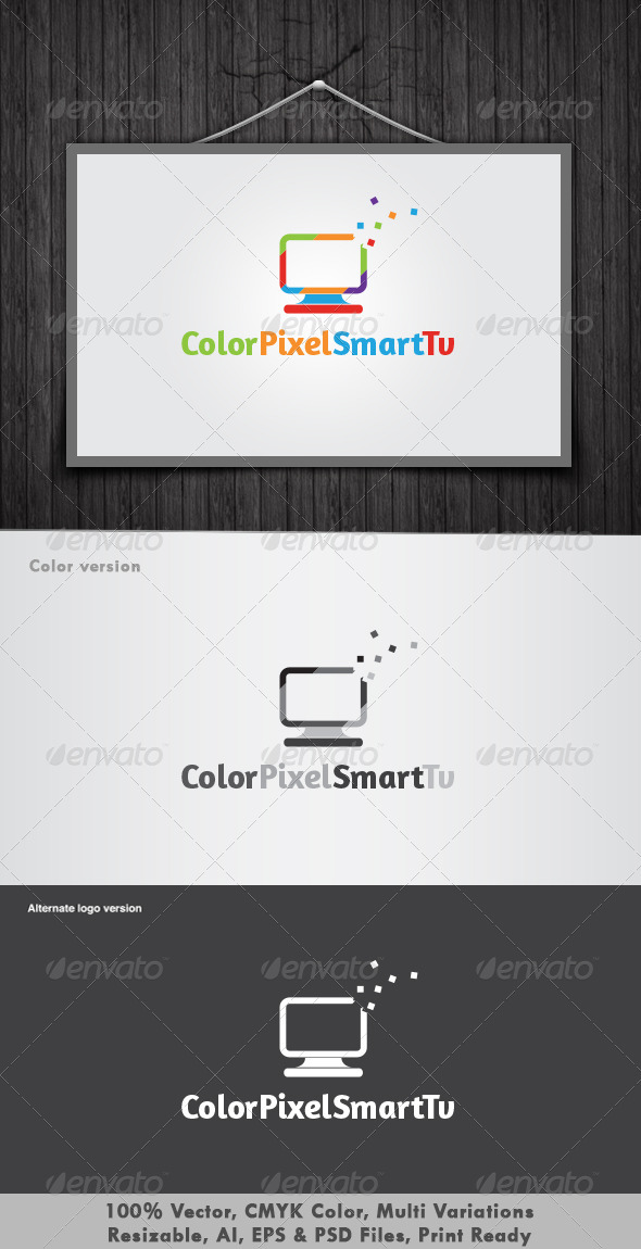 Color Pixel Smart Tv Logo - Objects Logo Templates