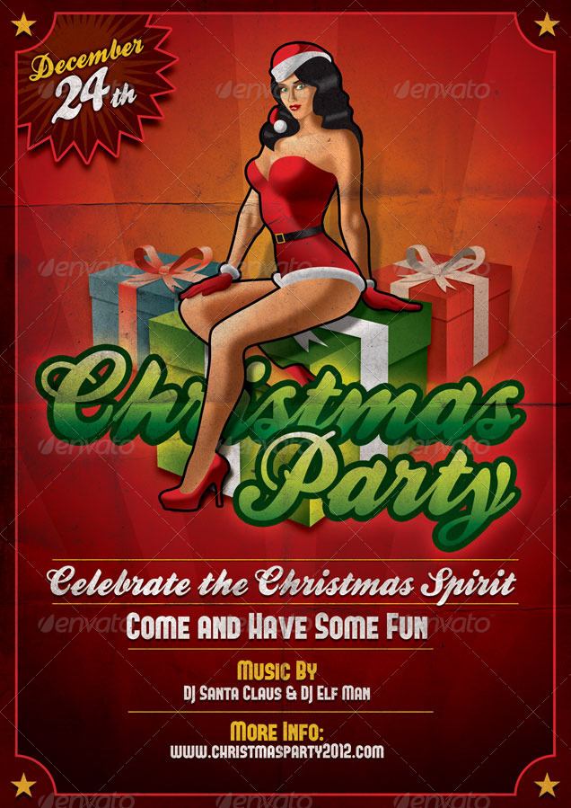 Christmas Party Vintage Flyer & Poster