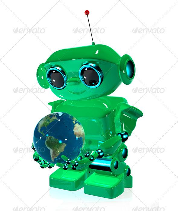 Green Robot - Characters 3D Renders