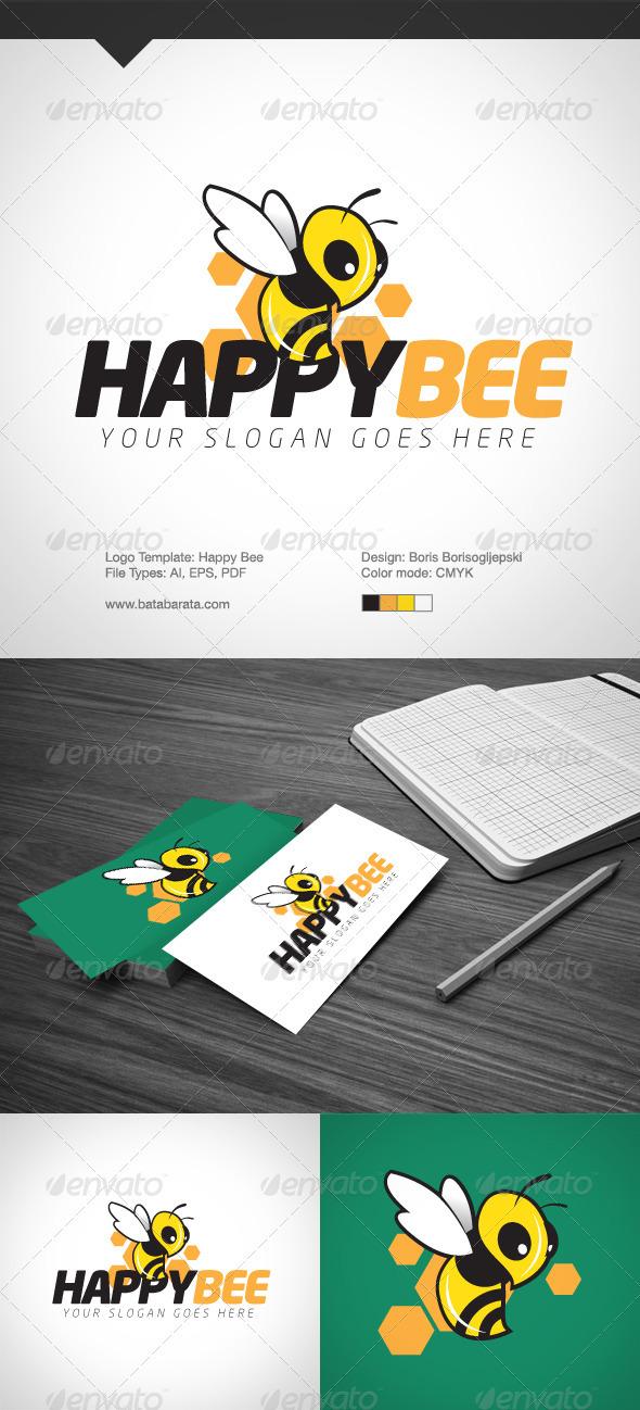 Happy Bee Logo Template - Logo Templates