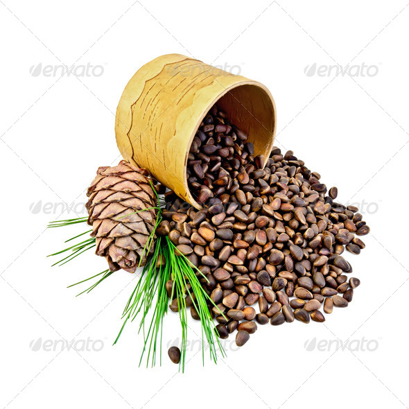 Cedrine nuts with the cone in tuesok - Stock Photo - Images