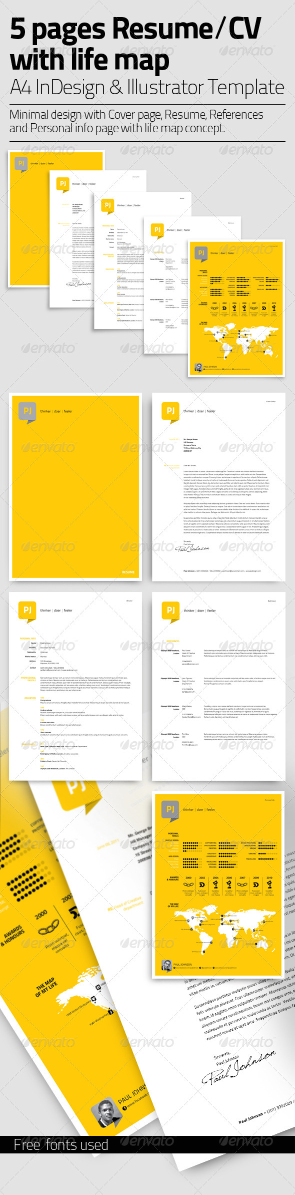 Resume Template | 5 Pages with Life Map - Resumes Stationery
