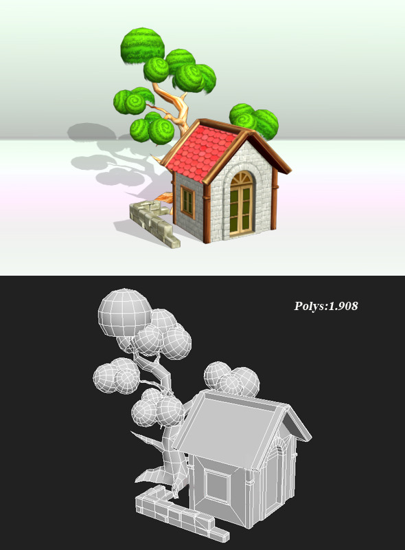 House And Tree Object - 3DOcean Item for Sale