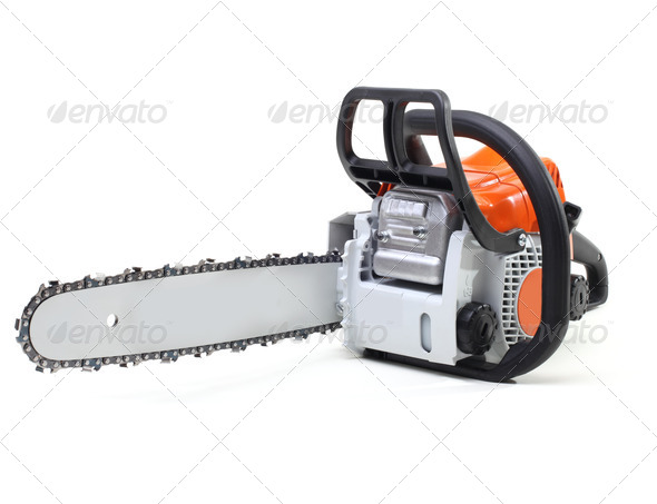 chainsaw isolated on white - Stock Photo - Images