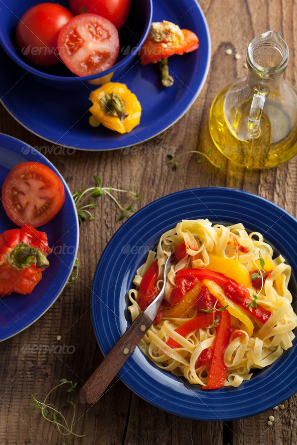 tagliatelle peperonata - Stock Photo - Images
