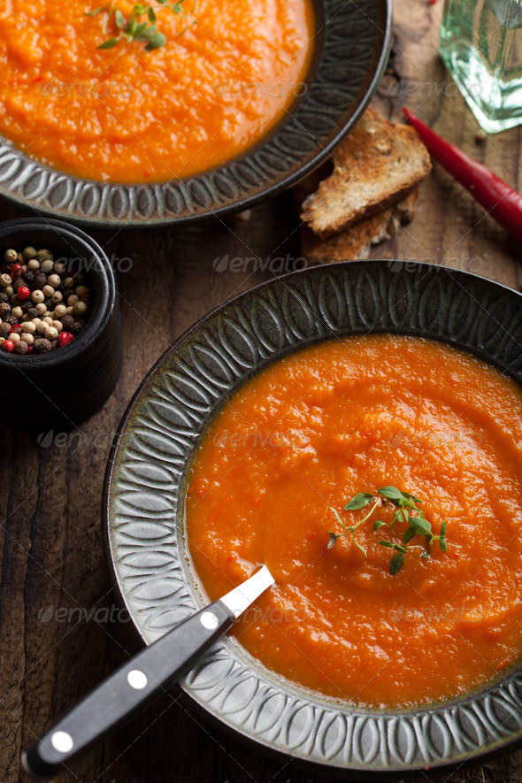 carrot cream soup - Stock Photo - Images
