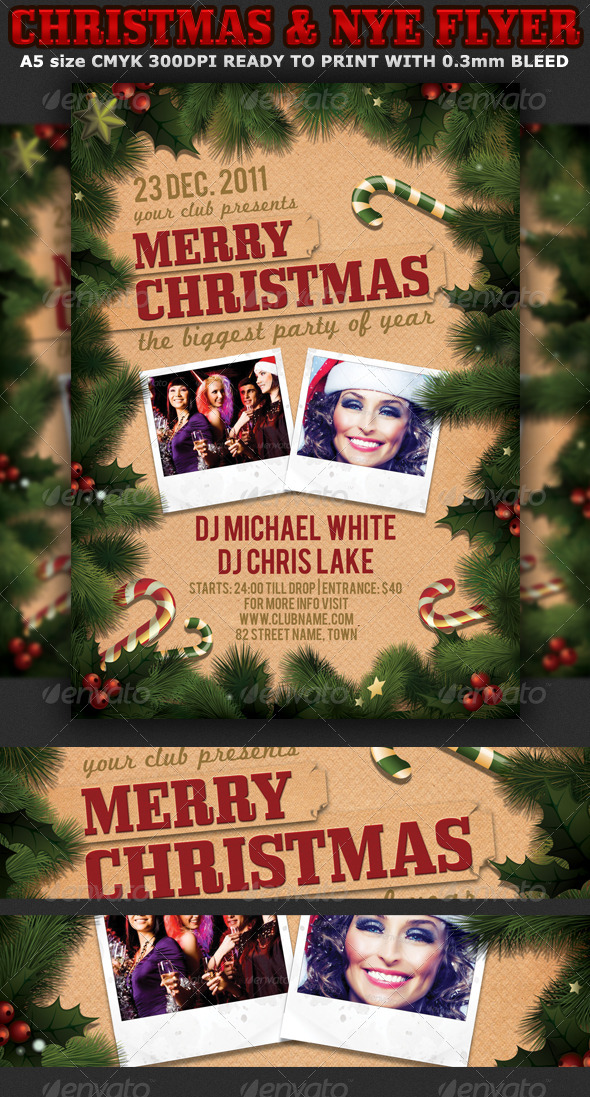Christmas or New Years Party Flyer Template - Clubs & Parties Events