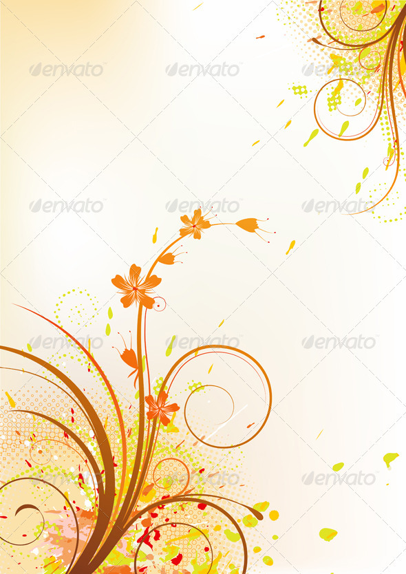 Grunge Floral Composition - Backgrounds Decorative