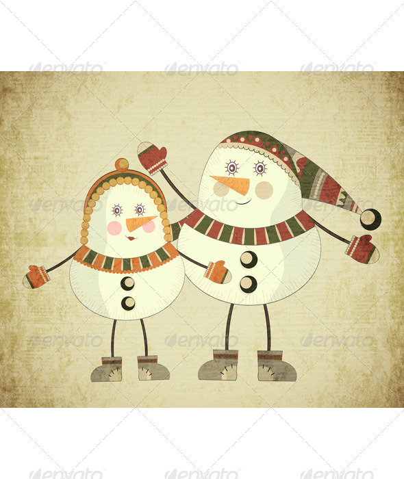 Two Snowmen on Grunge Background - Christmas Seasons/Holidays