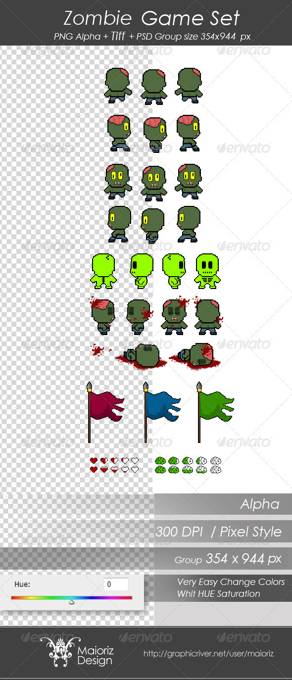 Zombie Game Set - Sprites Game Assets