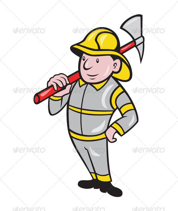 Fireman Firefighter Emergency Worker  - People Characters