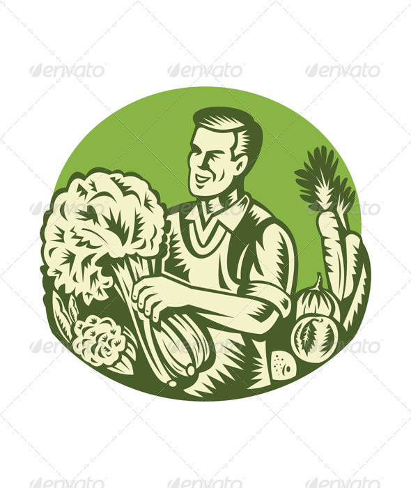 Organic Farmer Green Grocer Vegetable Retro  - People Characters