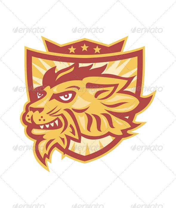Lion Mascot Head Shield - Animals Characters
