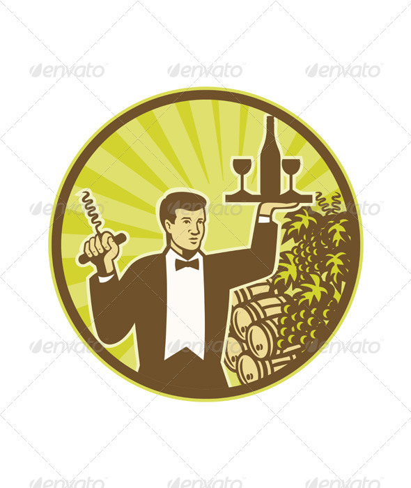 Waiter Serving Wine Grapes Barrel Retro  - People Characters