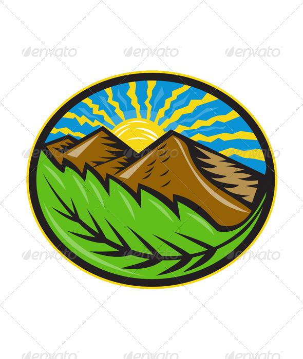 Mountains Leaf Sunburst Retro  - Landscapes Nature