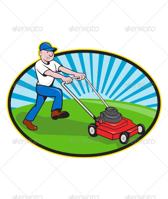 Lawn Mower Man Gardener Cartoon  - People Characters