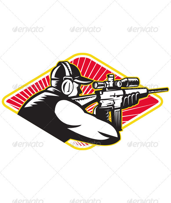 Hunter Shooter Aiming Rifle Retro  - People Characters
