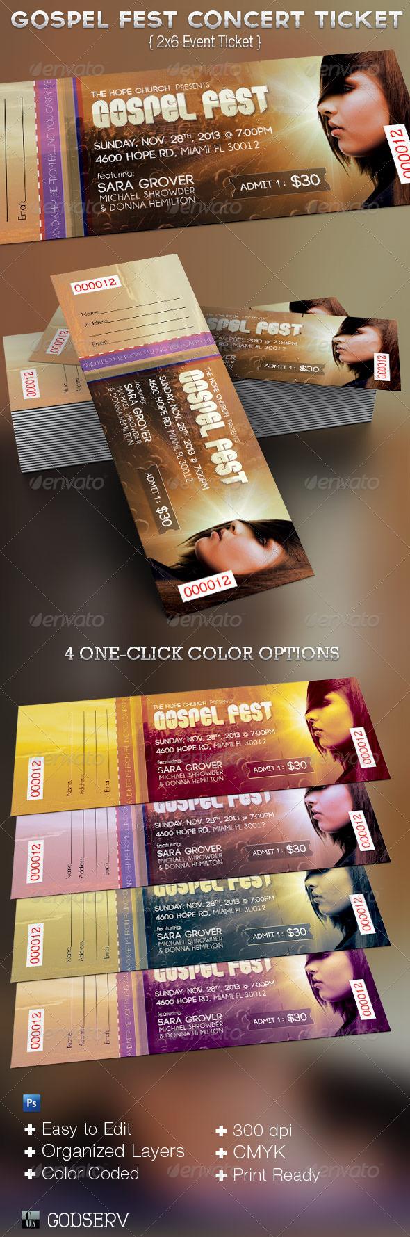 Gospel Fest Concert Ticket Template by Godserv – Concert Ticket Templates