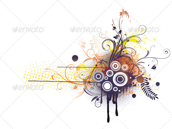 Grunge Floral Decorative Background - Backgrounds Decorative