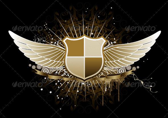 Golden Winged Heraldic Shield - Decorative Vectors