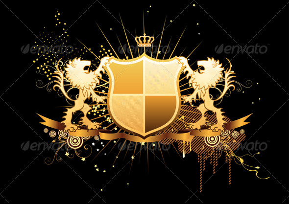 Golden Heraldic Shield  - Decorative Vectors