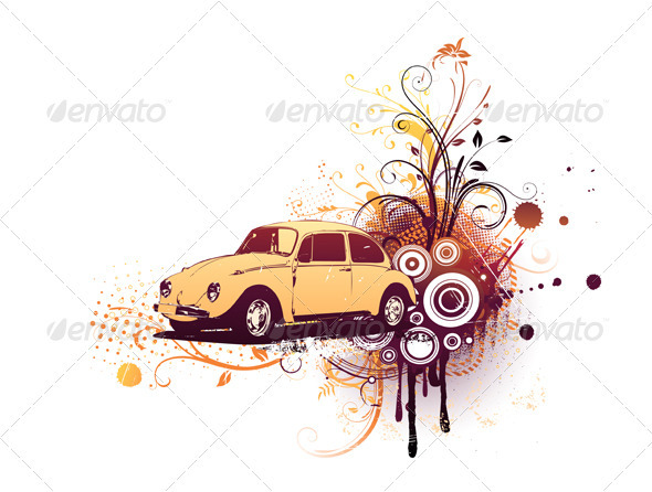 Retro Car - Decorative Vectors