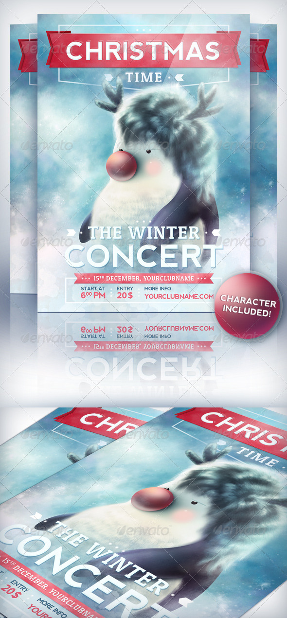 Christmas Time - Party Flyer Template - Holidays Events