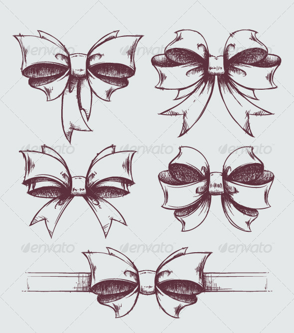 Hand drawn gift bows. - Decorative Vectors