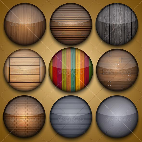 Vector Creative Circle App Set on Brown Background - Web Elements Vectors