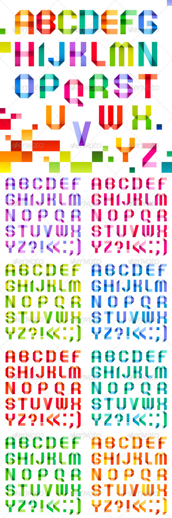 Spectral Letters Folded of Paper Ribbon Color - Miscellaneous Conceptual