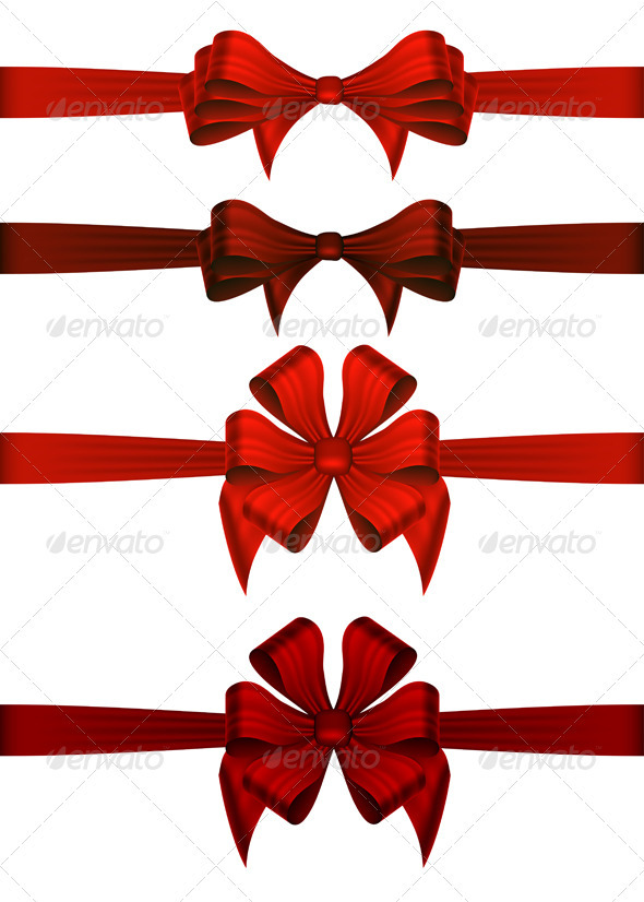 Red Gift Ribbons - Christmas Seasons/Holidays