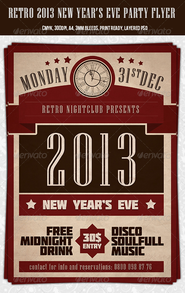 Retro  New Year Party Flyer Template By Dodimir  Graphicriver