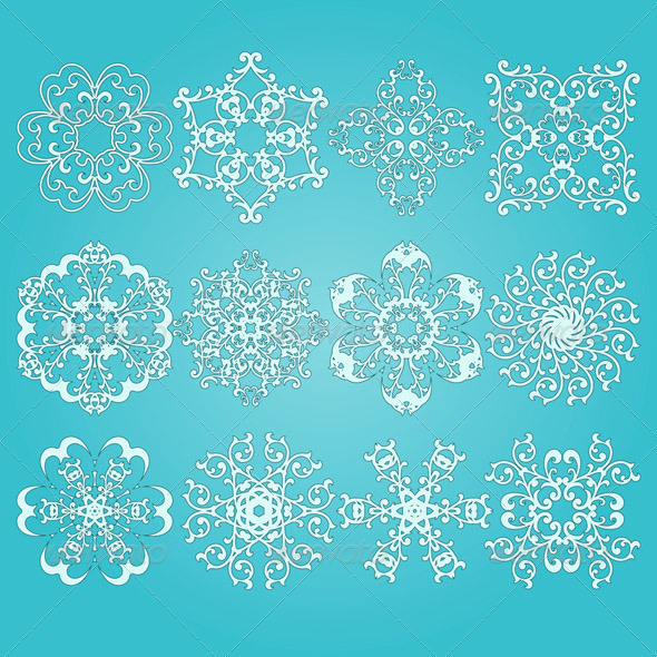 12 Vector Snowflakes - Decorative Symbols Decorative