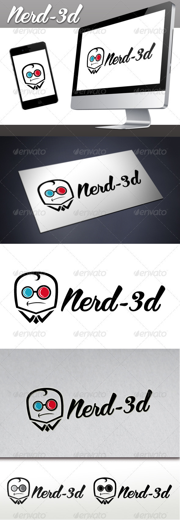 Nerd 3D Glasses - Humans Logo Templates