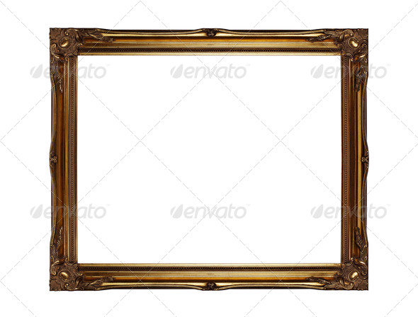Gold picture frame - Stock Photo - Images